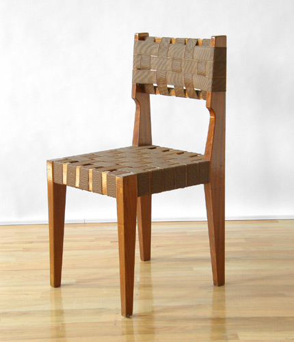 Mahogany And Woven Plastic Strap Chair By Lehigh